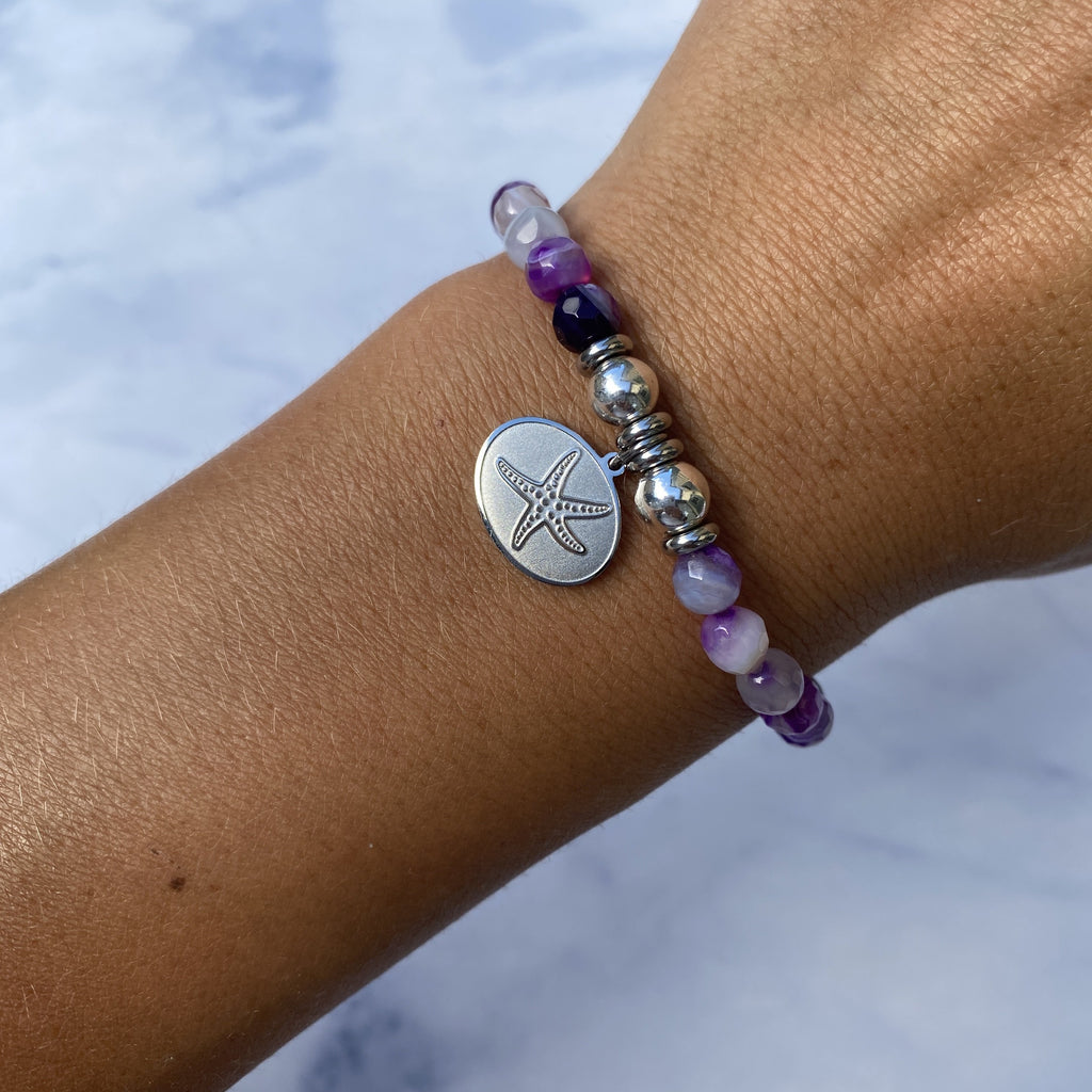 HELP by TJ Starfish Charm with Purple Stripe Agate Beads Charity Bracelet