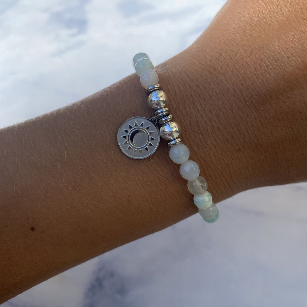 HELP by TJ Sun and Moon Charm with Light Blue Agate Beads Charity Bracelet