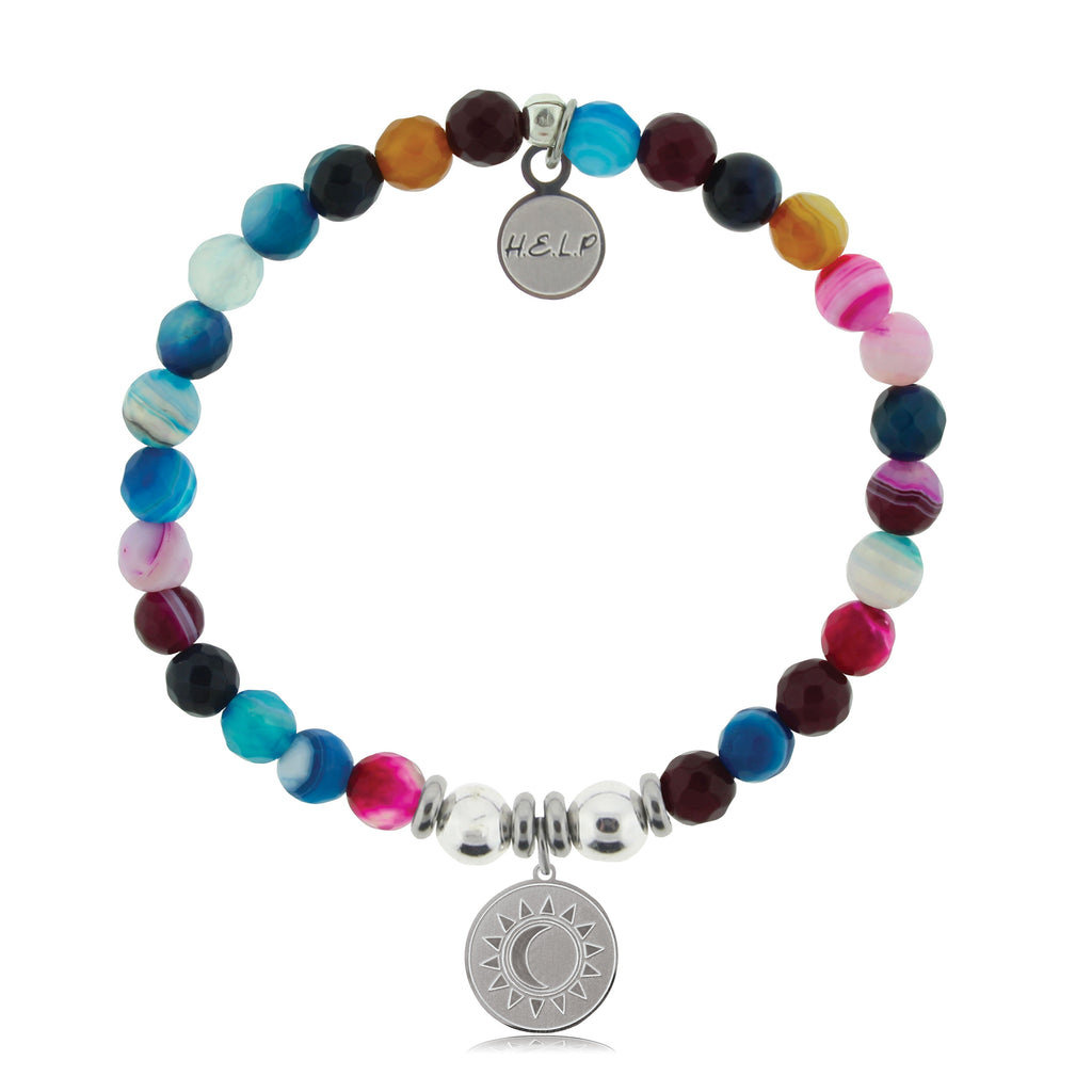 HELP by TJ Sun and Moon Charm with Multi Color Agate Beads Charity Bracelet