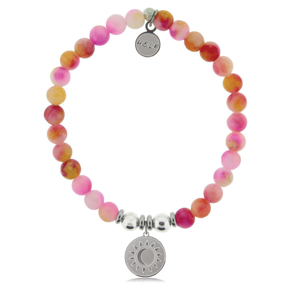 HELP by TJ Sun and Moon Charm with Persia Jade Beads Charity Bracelet