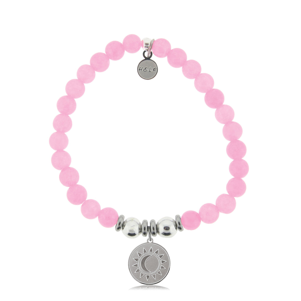 HELP by TJ Sun and Moon Charm with Pink Agate Beads Charity Bracelet