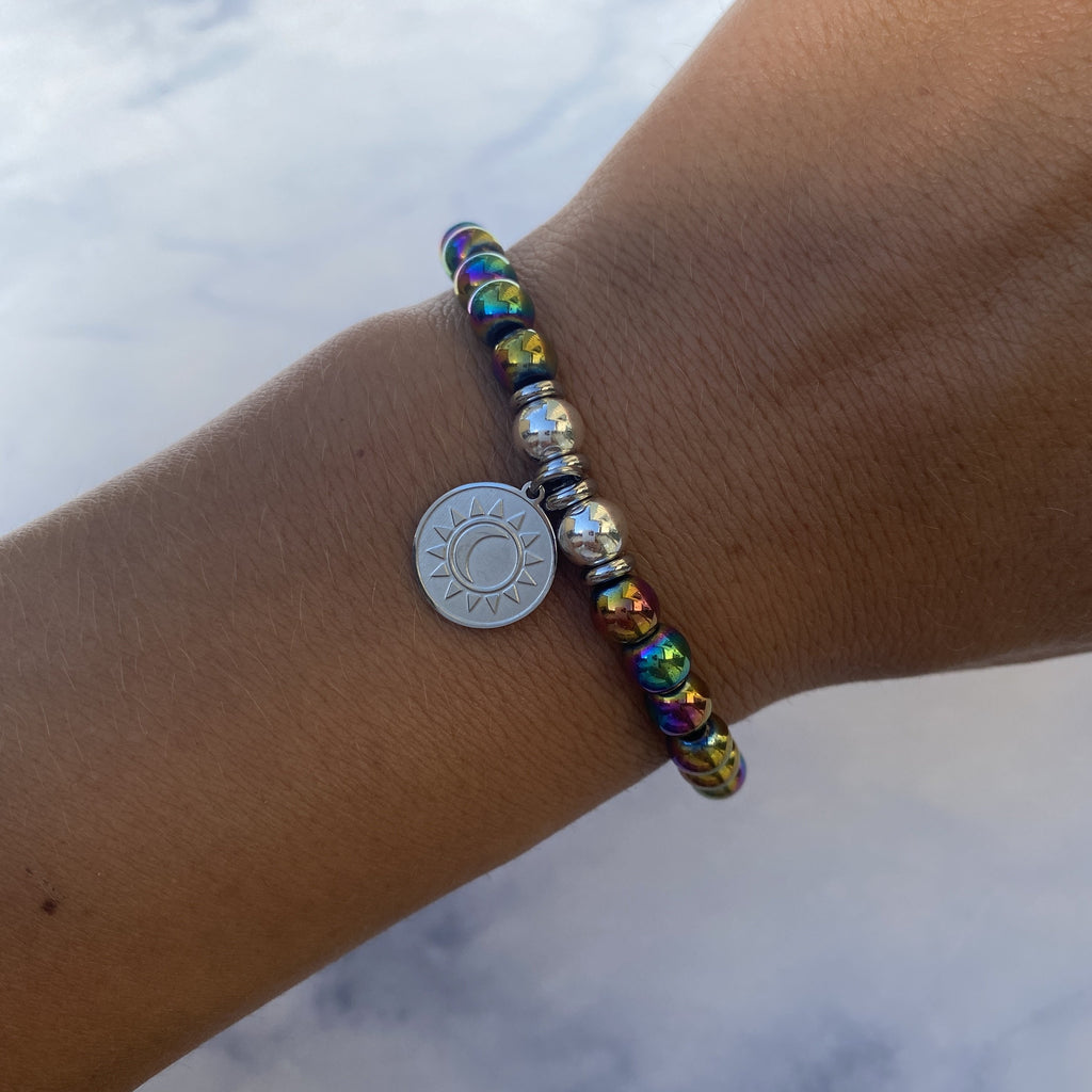 HELP by TJ Sun and Moon Charm with Rainbow Hematite Beads Charity Bracelet