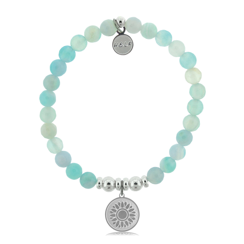 HELP by TJ Sunflower Charm with Aqua Agate Beads Charity Bracelet
