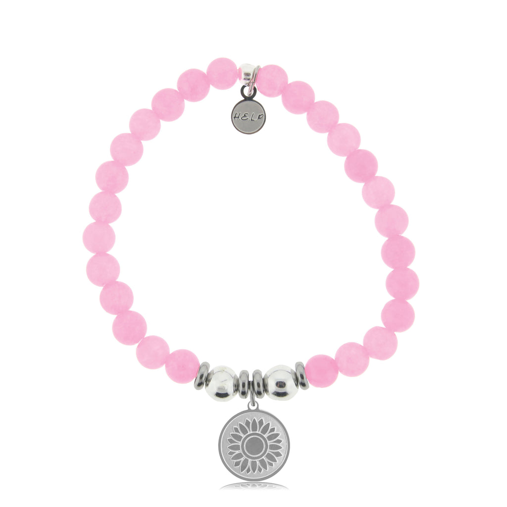 HELP by TJ Sunflower Charm with Pink Agate Beads Charity Bracelet