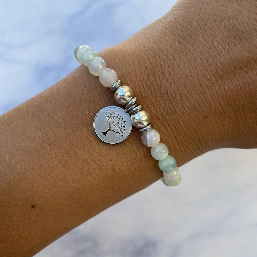 HELP by TJ Tree of Life Charm with Light Blue Agate Beads Charity Bracelet