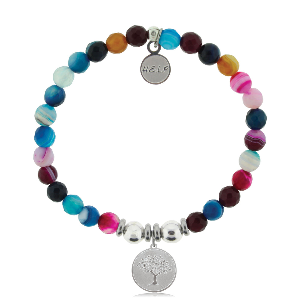 HELP by TJ Tree of Life Charm with Multi Color Agate Beads Charity Bracelet