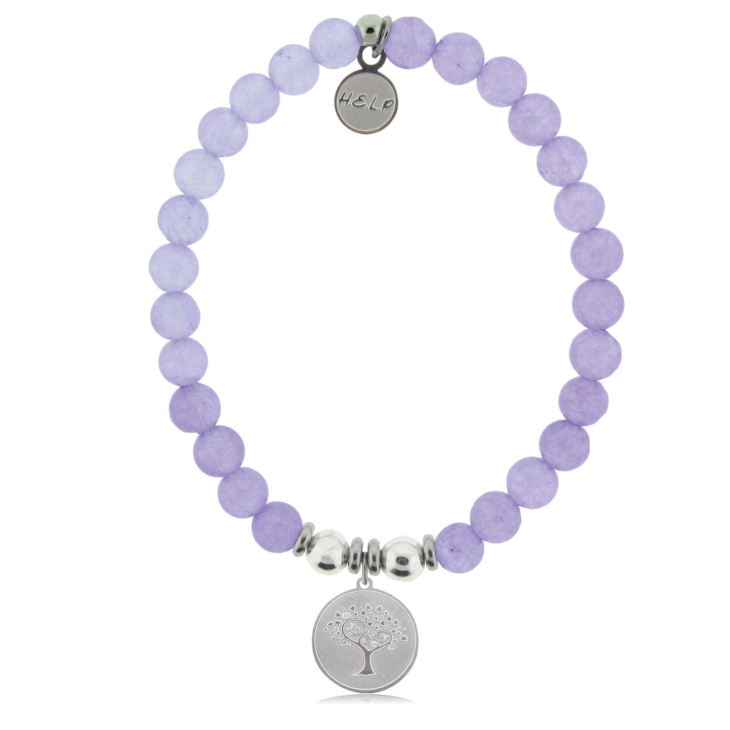 HELP by TJ Tree of Life Charm with Purple Jade Beads Charity Bracelet