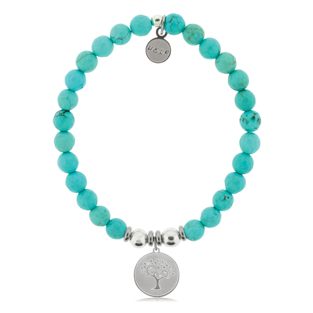 HELP by TJ Tree of Life Charm with Tropic Blue Agate Charity Bracelet