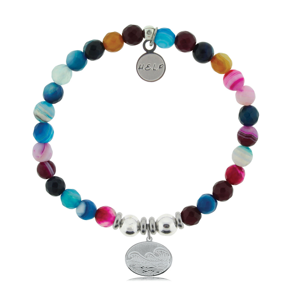 HELP by TJ Wave Charm with Multi Color Agate Beads Charity Bracelet