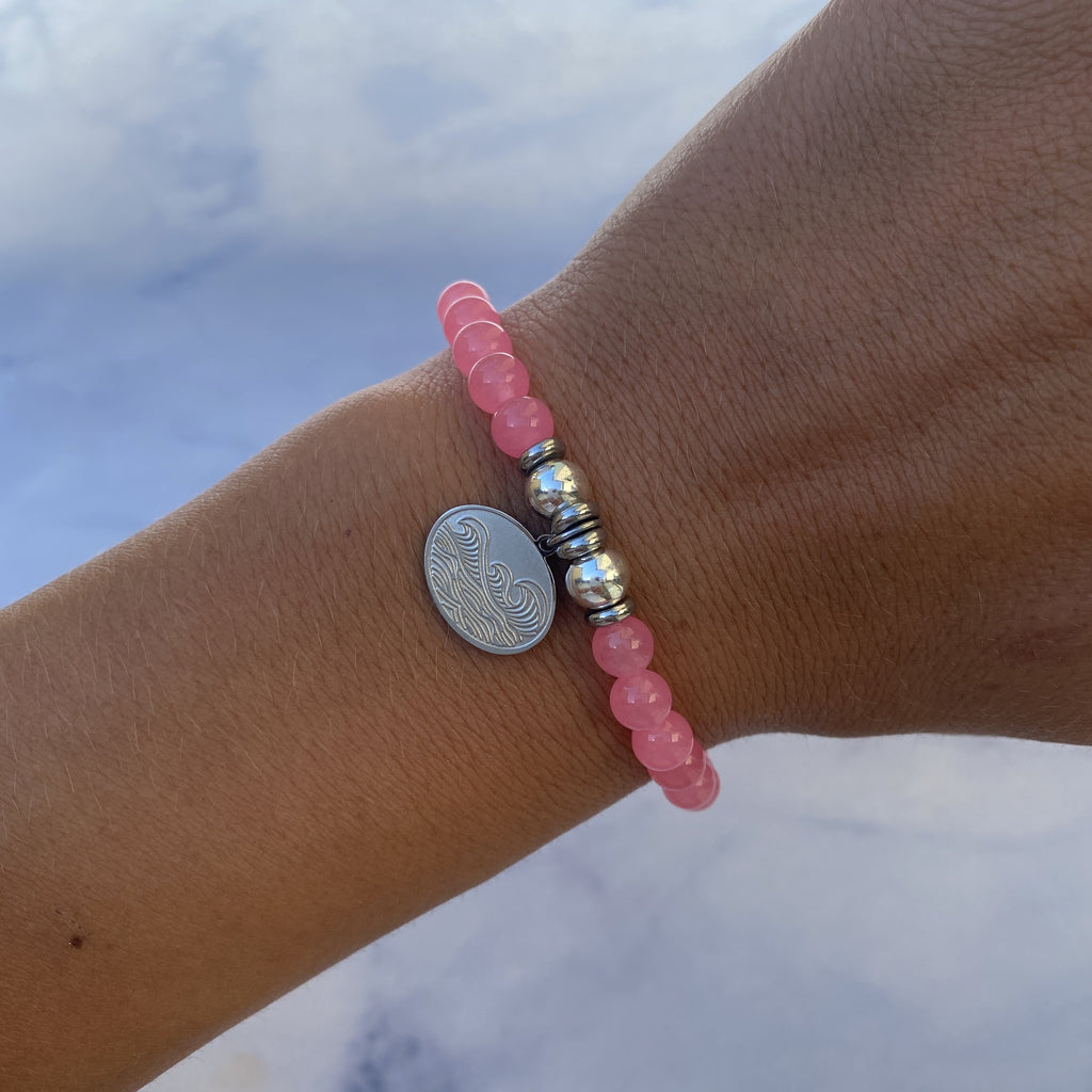 HELP by TJ Wave Charm with Pink Agate Beads Charity Bracelet