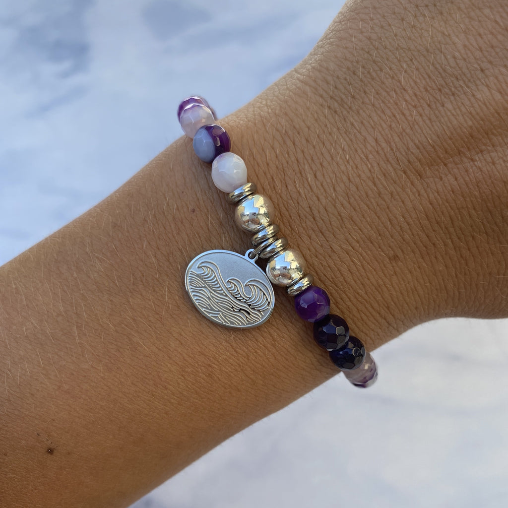 HELP by TJ Wave Charm with Purple Stripe Agate Beads Charity Bracelet
