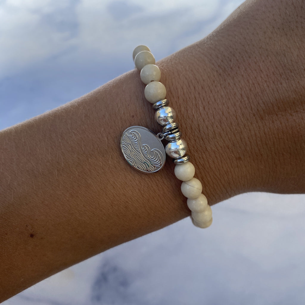 HELP by TJ Wave Charm with Riverstone Beads Charity Bracelet