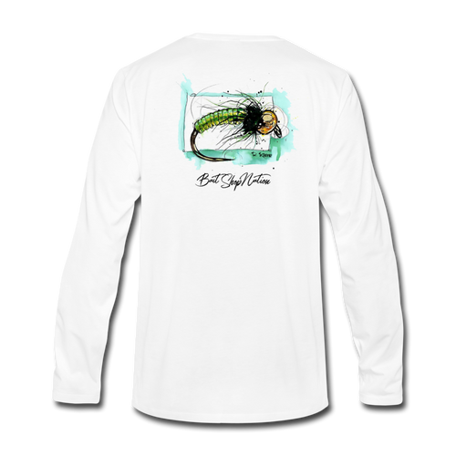 Green Caddis Cotton Long Sleeve T-Shirt BSN - white