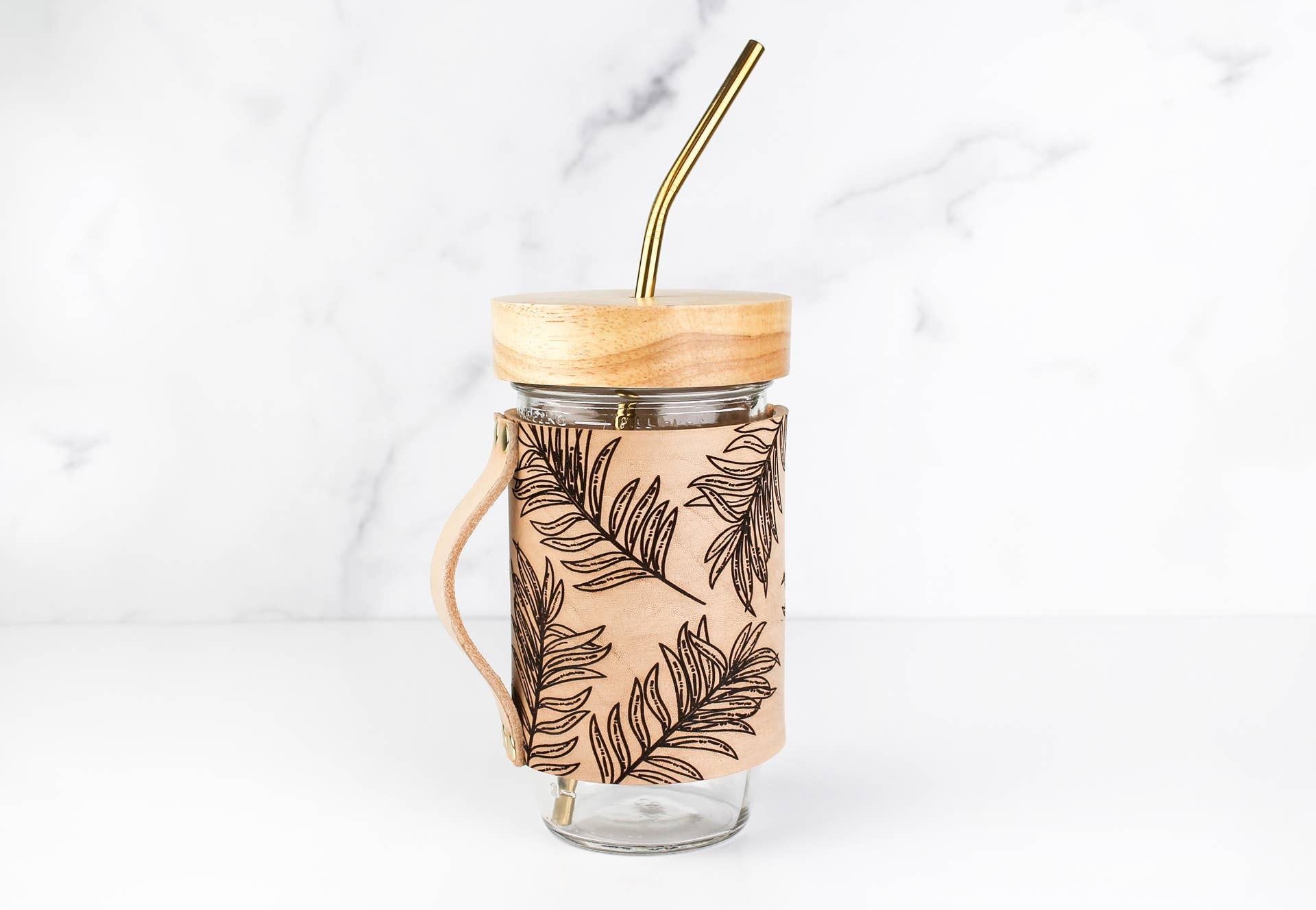 TROPICAL LEAVES Leather Mason Jar Mug