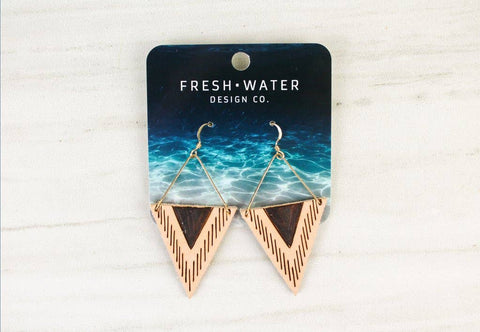 """Triangle Gold Bar"" Leather Earrings"