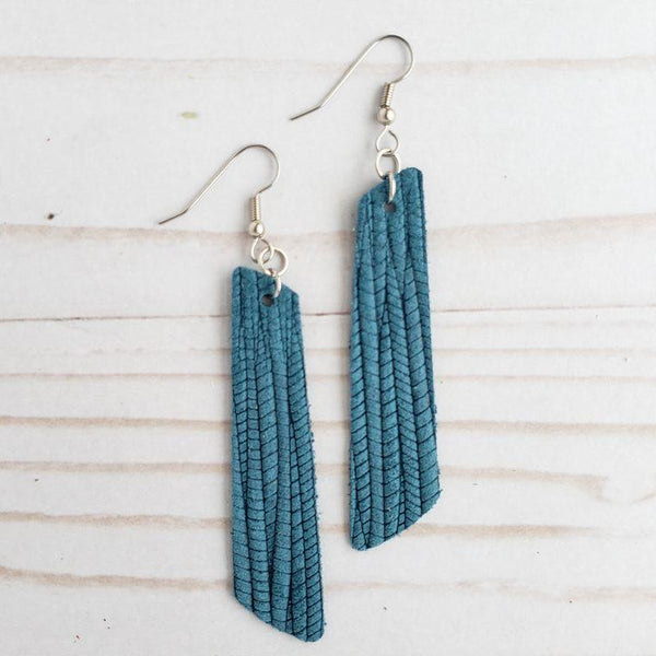 Palm Leather Bar Earrings