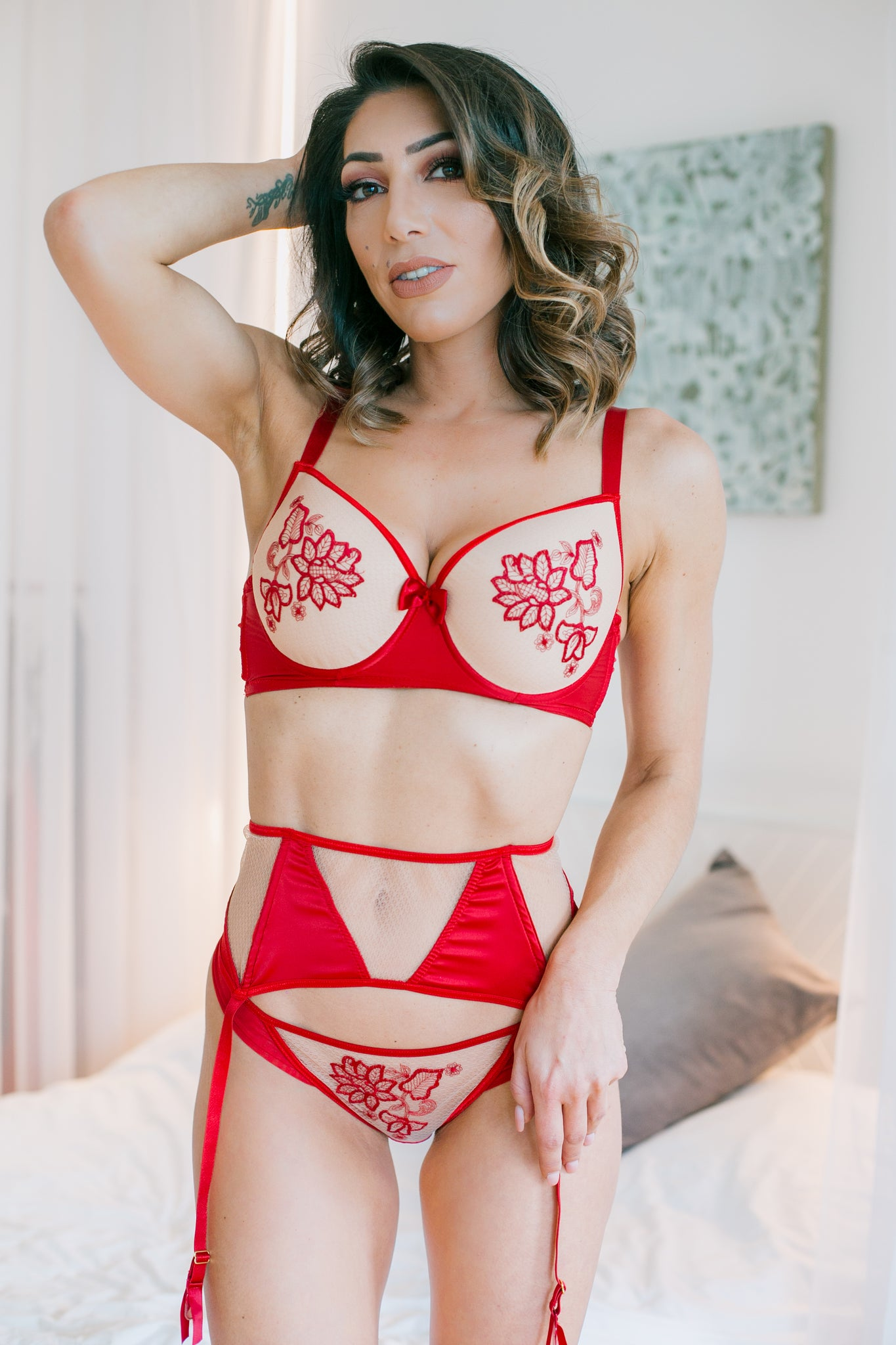 Roza Mehendi Push Up Bra Claret Red