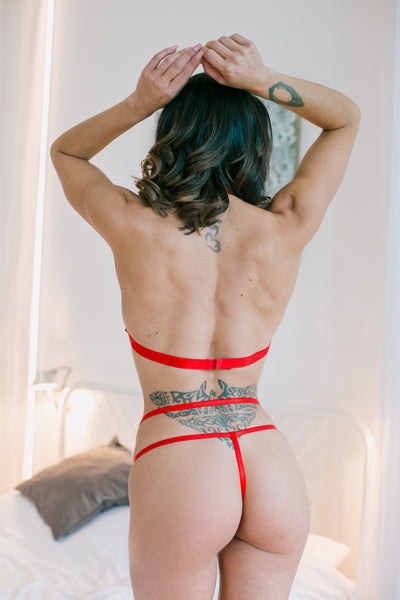 Ginette Strappy Harness Red Set