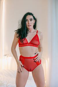Red tempting 2 piece set . It includes a bra and high waist brief which are both decorated with see-through mesh and have a tempting braided gold ring feature. The briefs have an elasticated waistband and there is also a plain mesh on the back just like the front. The back of the bra has one adjustable hook.