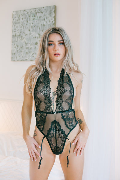 Sexy Adelaide Black Lace Teddy Bodysuit UK
