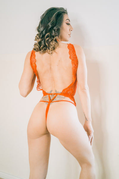 Red Metallic Lace Teddy/Bodysuit