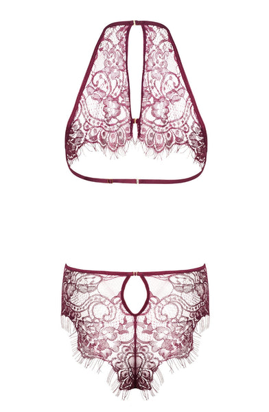 Jordana is dreamlike and made from beautiful rich purple lace. This delicate eyelash lace with beautiful floral pattern has a sexy cut at the waist charmingly revealing the hips. The back body is also stunning with a fancy finish that adds a unique charm.
