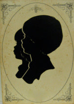 The original hand-cut paper silhouette portrait of sisters Joyce and Sharon, at age nine & six.