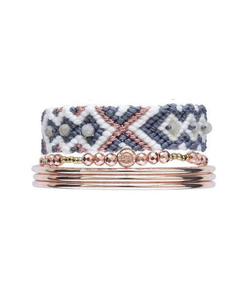 Friendship Healing Band Grey & Bangles Set - Rose Gold