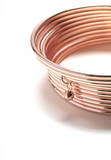 Rose Gold Bangles with Hematite Bead (Set of 10)