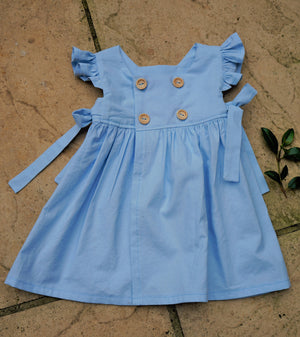 Olivia Dress - Handmade - Blue 100% cotton