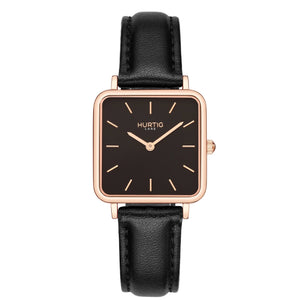 Neliö Square Vegan Leather Watch Rose Gold/Black/Green