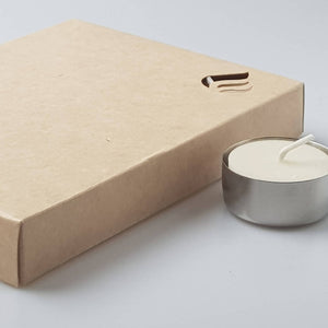 12 Refill Tealights with a stylish Stainless-steel cup, hand-poured