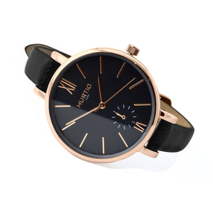 Amalfi Petite Vegan Leather Watch Rose Gold/Black/Black