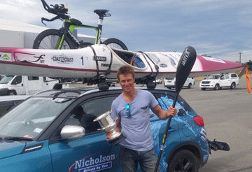 Sam Clark won the NZ 2017 Coast to Coast using a Jantex Paddle