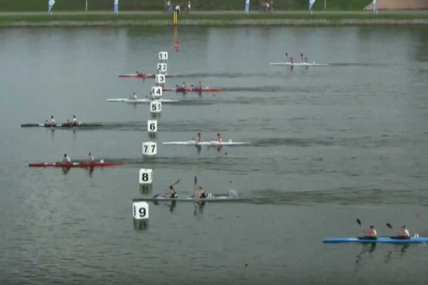Photo finish from the U23 WK2 500m A Final at the ICF Sprint Junior World Champs