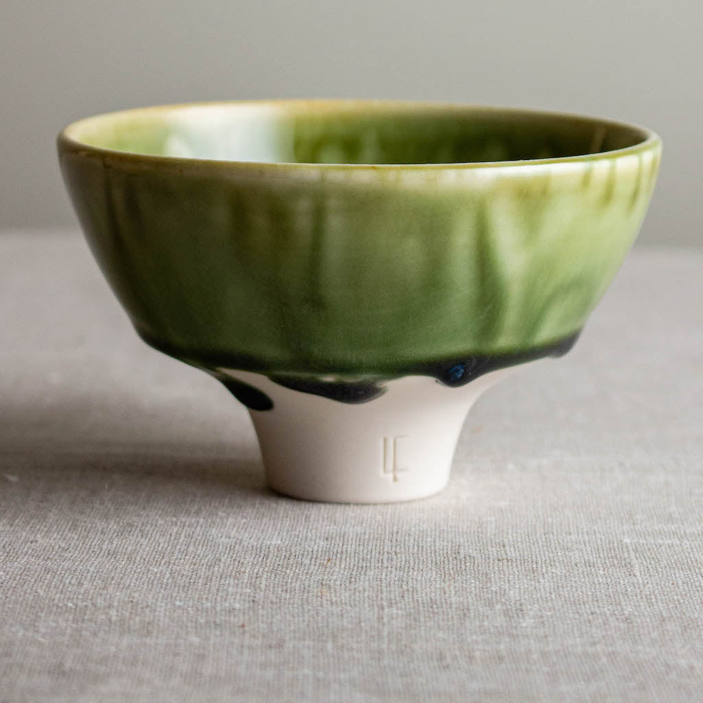 Drippy Olive Green Bowl