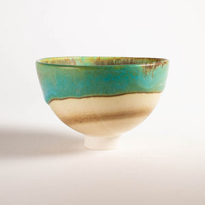 Dramatic Turquoise, Grey and White Small Bowl