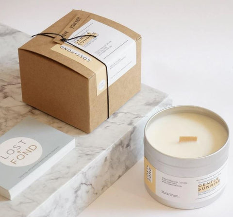 Eucalyptus & Lavender Woodwick candle in travel tin - aromatherapy candles for sale at www.wicksandreeds.com