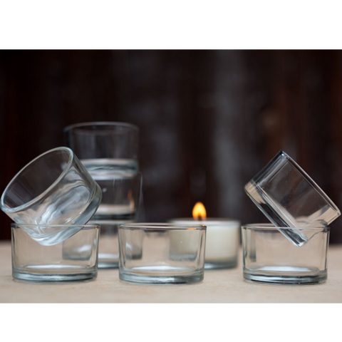 Individual glass tea light candle holders for sale at wicksandreeds.com