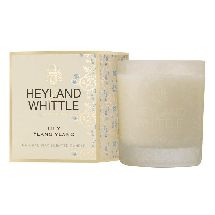 Lily & Ylang Ylang - Large Glass Candle by Heyland & Whittle - www.wicksandreeds.com