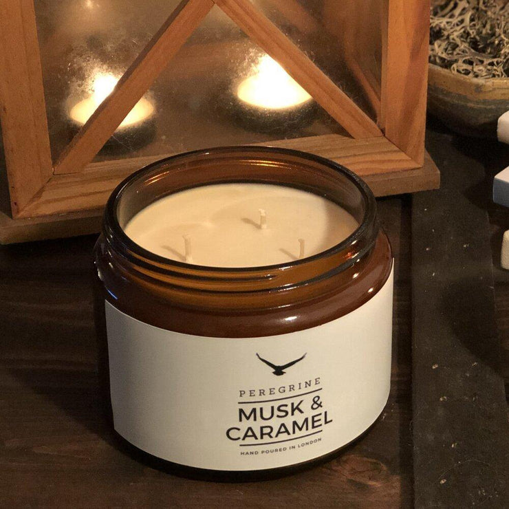 Musk & Caramel Large Triple Wick Natural Handpoured Soy Wax Candle - www.wicksandreeds.com