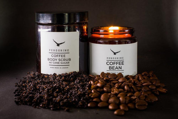 Coffee Bean Handpoured Soy Candle & Organic Coffee Body Scrub Gift Box - www.wicksandreeds.com