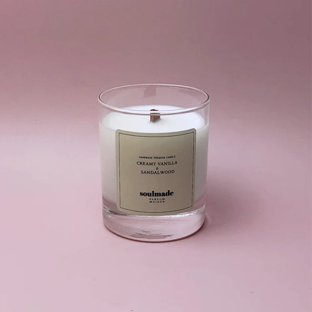 Creamy Vanilla & Sandalwood Soy Wax Candle with Wooden Wick