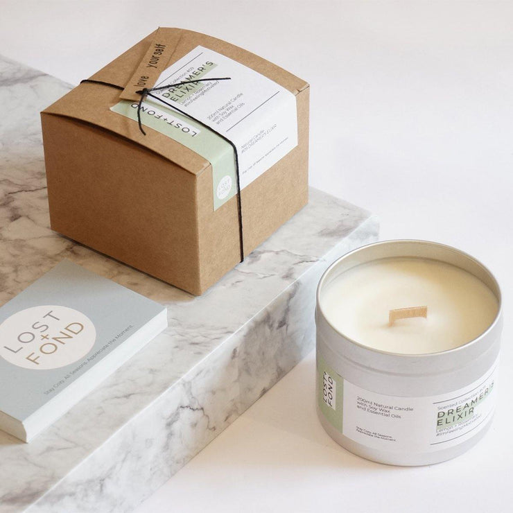 Lemon & Rosemary Scented Soy Wax Candle with Wood Wick in Gift Tin - www.wicksandreeds.com