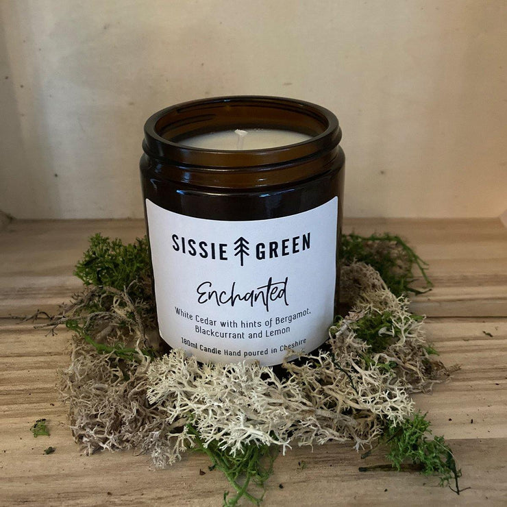 """Enchanted"" Hand Poured Soy Wax Candle 180ml by Sissie Green - www.wicksandreeds.com"
