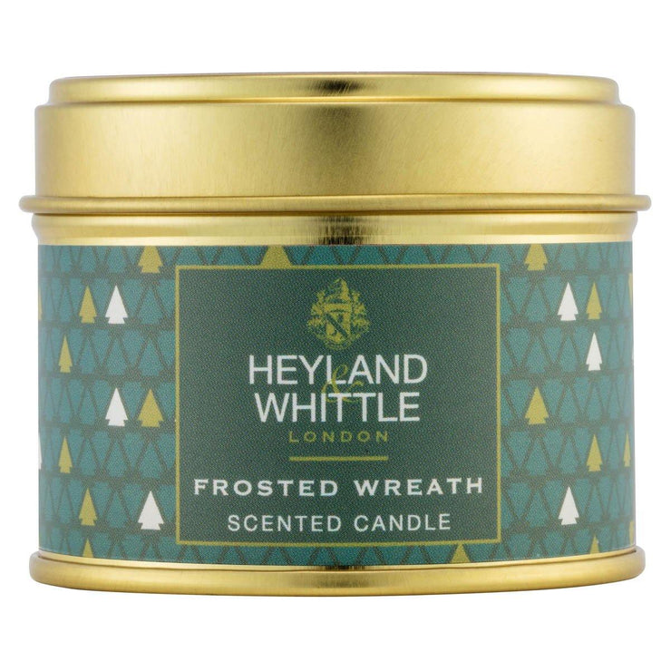 Frosted Wreath scented Christmas candle in a tin by Heyland & Whittle - www.wicksandreeds.com