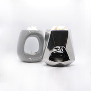 Grey Oval Wax Melt & Aromatherapy Oil Burner Gift Set - Burner And Soy Melt Bar
