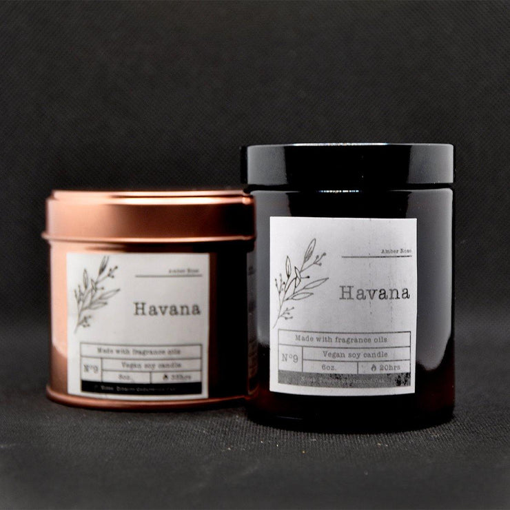 Oak & Leather Scented Christmas Soy Candle in an Amber Glass Jar - www.wicksandreeds.com