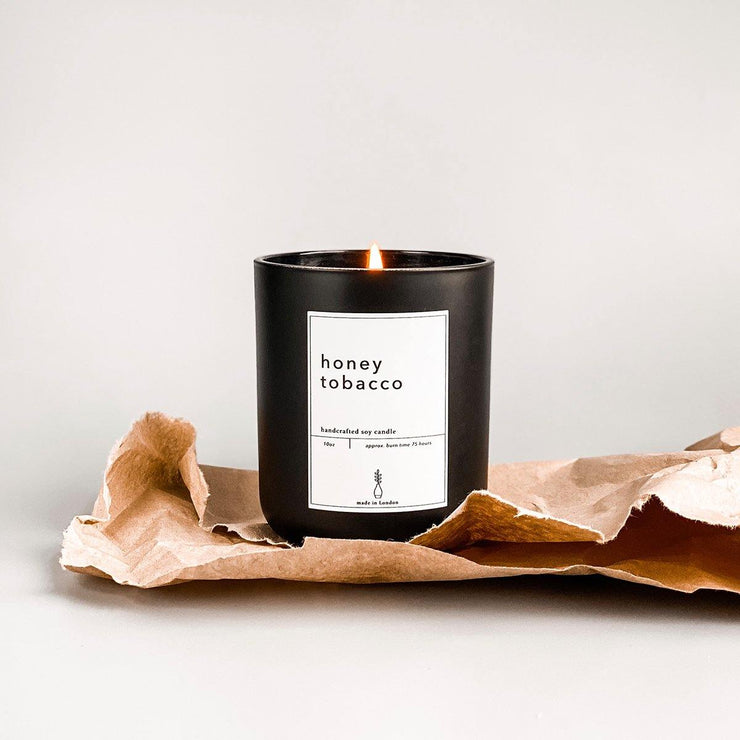 Honey & Tobacco - Large Soy Candle Handpoured in London - www.wicksandreeds.com