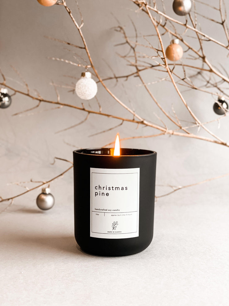 Winter Pine Christmas Candle - 100% Soy Wax & Handpoured in Britain - www.wicksandreeds.com